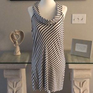 White House Black Market Black/White Striped Tunic